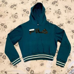 FILA cropped teal hoodie size small